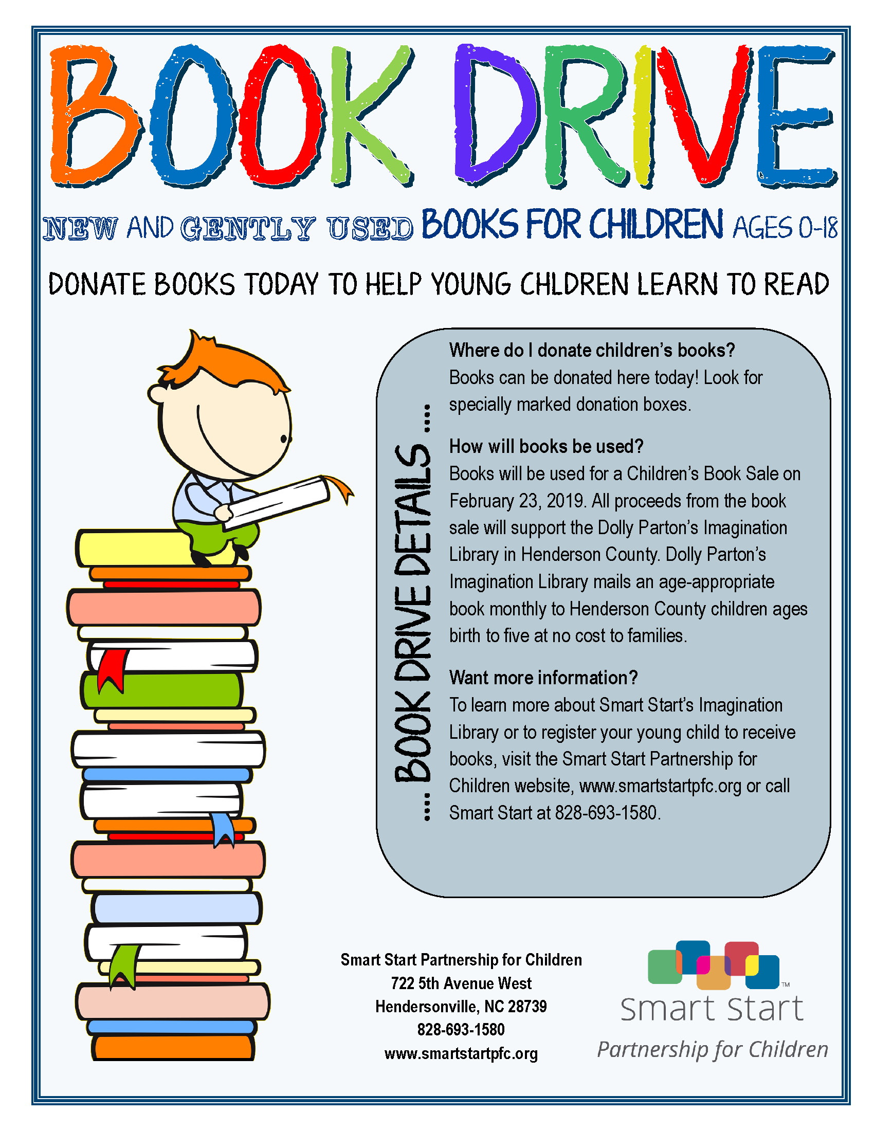 2019 book drive flyer general